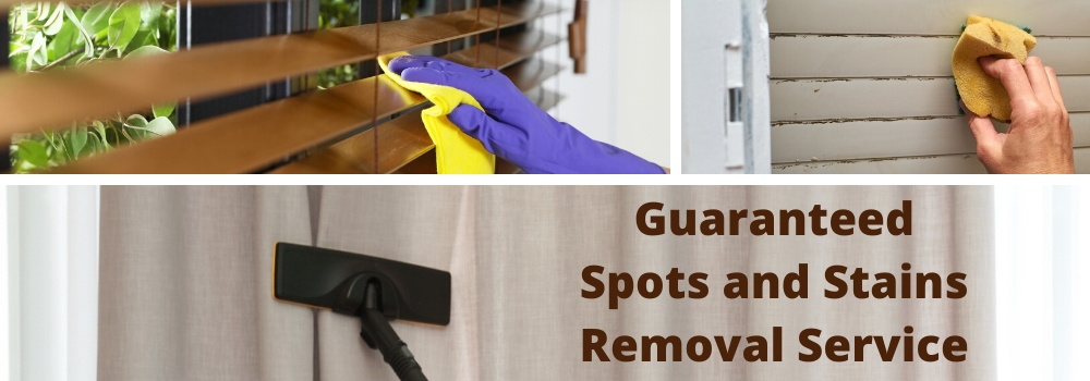Janitor wiping window blinds with rag indoors, closeup